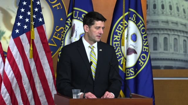 house speaker paul ryan of wisconsin tells reporters at a weekly briefing that is because president donald trump on a nearly weekly basis trump's... - speaker of the house stock videos and b-roll footage