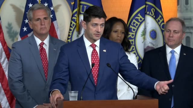 house speaker paul ryan of wisconsin tells reporters at a weekly briefing that the gru officers were the ones who conducted the cyber attack on our... - gru点の映像素材/bロール