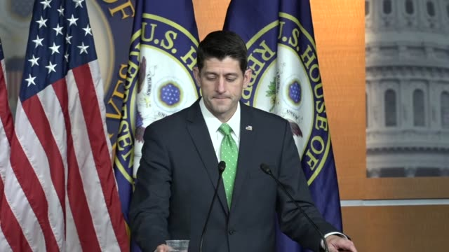 house speaker paul ryan of wisconsin tells reporters at a weekly briefing that having seen the account of a woman who described abuses of michigan... - speaker of the house stock videos and b-roll footage