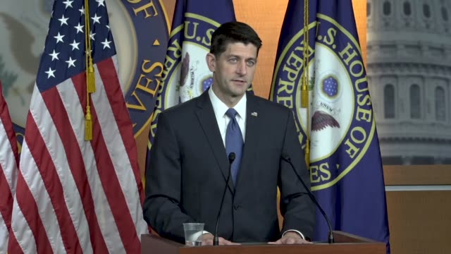 house speaker paul ryan of wisconsin tells reporters at a weekly press briefing that pundits and spinsters and spinmeisters out there were confusing... - speaker of the house stock videos and b-roll footage