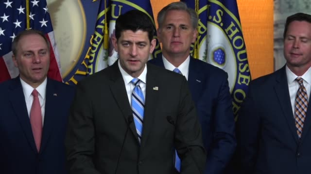 house speaker paul ryan of wisconsin tells reporters at a weekly briefing that tax reform was for americans living paycheck to paycheck and he was... - gehaltsstreifen stock-videos und b-roll-filmmaterial