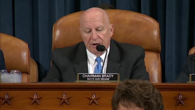 stockvideo's en b-roll-footage met house ways and means committee chairman kevin brady of texas reads from prepared remarks at a hearing on imminent tariffs imposed by the trump... - verwijten