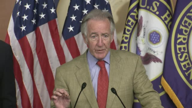 house ways and means committee chairman richard neal of massachusetts begins a press conference with dan kildee and danny davis to say it had been... - paying rent stock videos & royalty-free footage