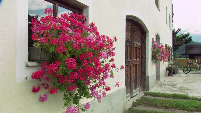 CU PAN WS House with geranium bloom and road in Alpine village, Bavaria, Germany
