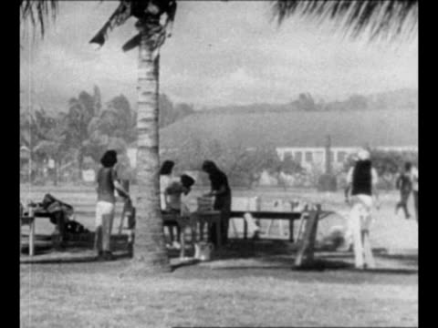 house with smoke blowing behind and wind blowing palm tree / montage hawaiians outdoors in neighborhood with wind and smoke / [from japanese... - guerra del pacifico video stock e b–roll