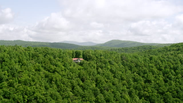 ws aerial pov house with tree area, appalachian mountains and blue ridge mountains in background / gilmer county, georgia, united states - appalachia stock videos & royalty-free footage