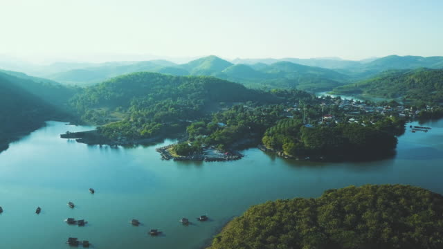 houseboat on the lake at loei province, thailand - realisticfilm stock videos and b-roll footage