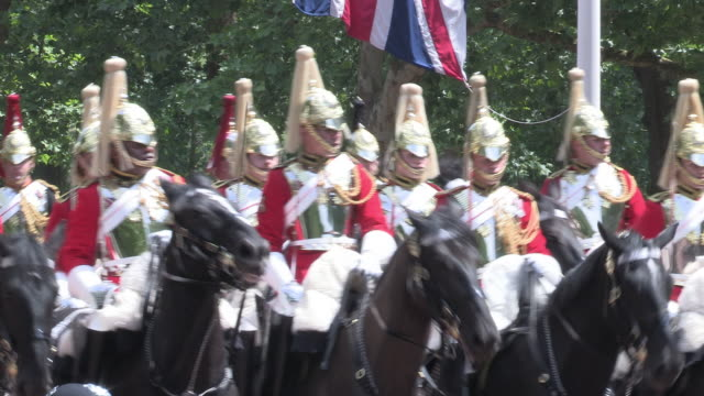 household cavalry at the trooping the colour london - trooping the colour stock videos & royalty-free footage