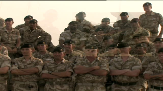 household cavalry on duty horseguards on ceremonial duty in london / troops on base camp in iraq graphicised sequence split screen troops gathered... - basläger bildbanksvideor och videomaterial från bakom kulisserna