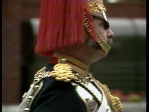 household cavalry rehearsal royal wedding household cavalry rehearsal england london knightsbridge barracks ms side one horse and rider to bv ms line... - barracks stock videos & royalty-free footage