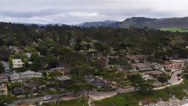 houses along the beach in carmel california during covid-19 pandemic - carmel california stock videos & royalty-free footage