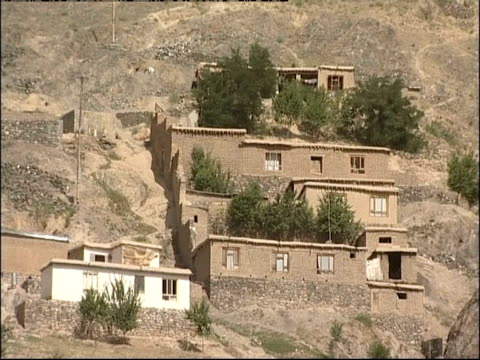 Houses are on a hillside in Afghanistan.