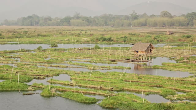 ws houses built on water on inle lake, people on boats passing / inle lake, shan state, myanmar  - shan state stock videos & royalty-free footage