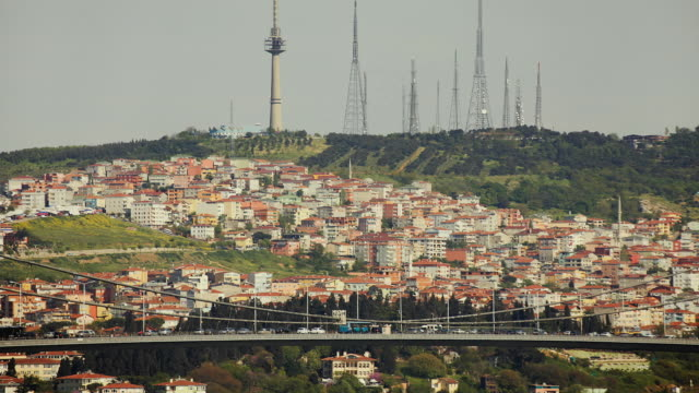 t/l ms ha houses, communication towers and bosphorus bridge, istanbul, turkey - july 15 martyrs' bridge stock videos & royalty-free footage