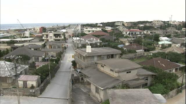 Houses crowd neighborhood streets on Yonaguni Island, Okinawa.