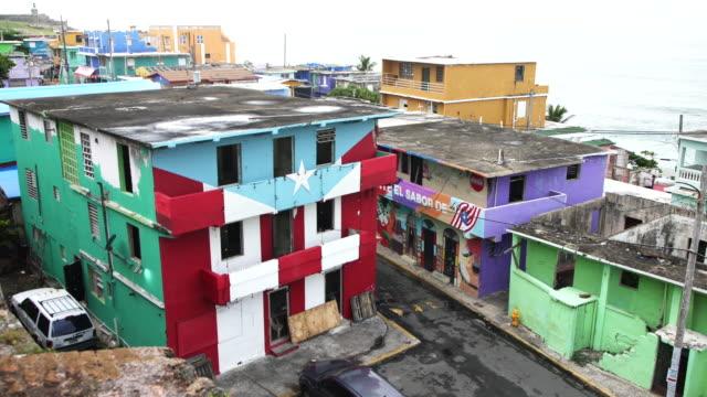 houses damaged by hurricane maria in la perla, san juan, puerto rico - puerto rico stock videos & royalty-free footage