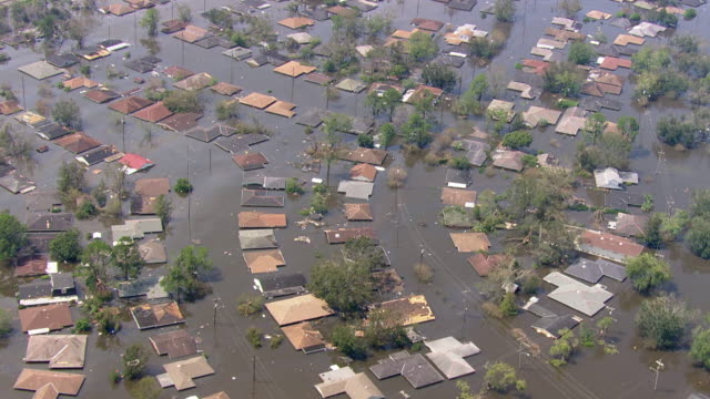 houses drowned due to floods / united states - new orleans stock-videos und b-roll-filmmaterial