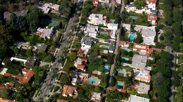 Houses In Beverly Hills  - Aerial View - California,  Los Angeles County,  United States