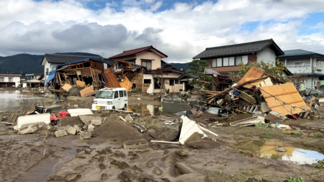 houses in ruins after being hit by typhoon hagibis on october 15 2019 in hoyasu near nagano japan japan has mobilised over 100000 rescue workers... - nagano prefecture stock videos & royalty-free footage