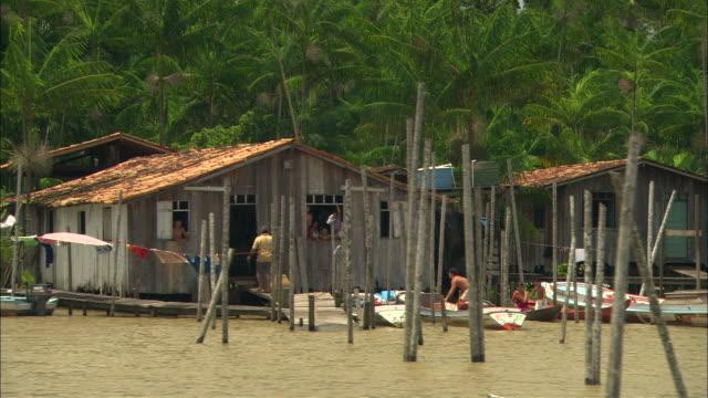 vídeos de stock, filmes e b-roll de houses occupy the bank of the amazon river in brazil. - cidade pequena