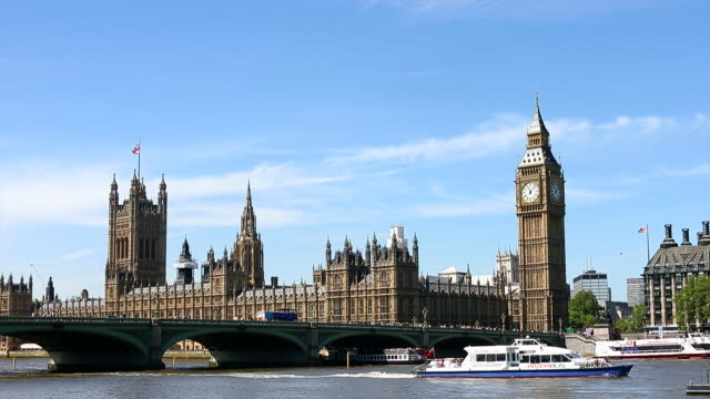 Houses of parliament and Big Ben with river and bridge in foreground