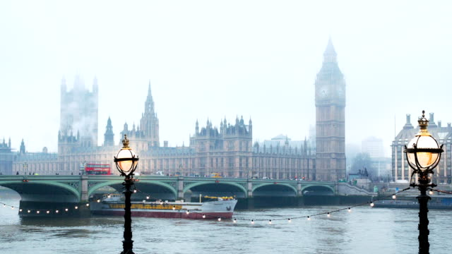 Houses of Parliament and Westminster Bridge in fog