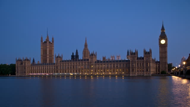 T/L Houses of Parliament, night to day, London, England