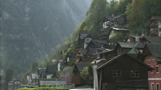 Houses on steep hillside overlooking Hallstattersee, Hallstatt