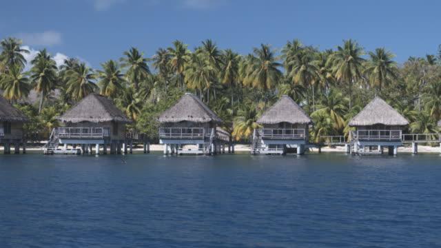 ms zi houses on stilts in tropical lagoon, bora bora, society islands, french polynesia - bora bora stock videos and b-roll footage