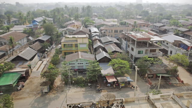 ws houses,  seen from high angle  / mandalay, mandalay division, myanmar - mandalay stock videos and b-roll footage