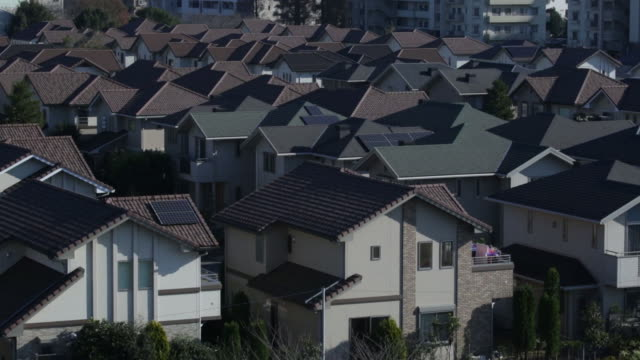 Houses stand in Inzai Chiba Prefecture Japan on Tuesday Dec 9 Pan L R over houses in Inzai Chiba Prefecture Widw view of houses Medium wide view of...