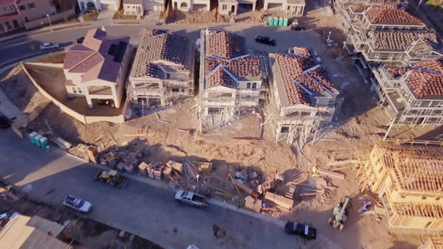 houses under construction - aerial view - santa clarita stock videos & royalty-free footage