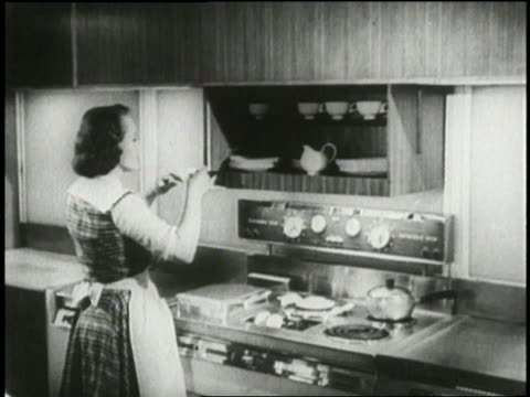 a housewife demonstrates a floating frying pan in a futuristic kitchen in 1954 - stereotypical housewife stock videos & royalty-free footage