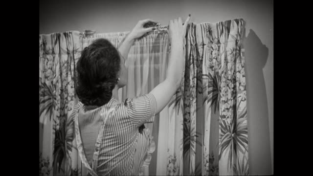ms housewife hanging curtain / united states  - curtain stock videos & royalty-free footage