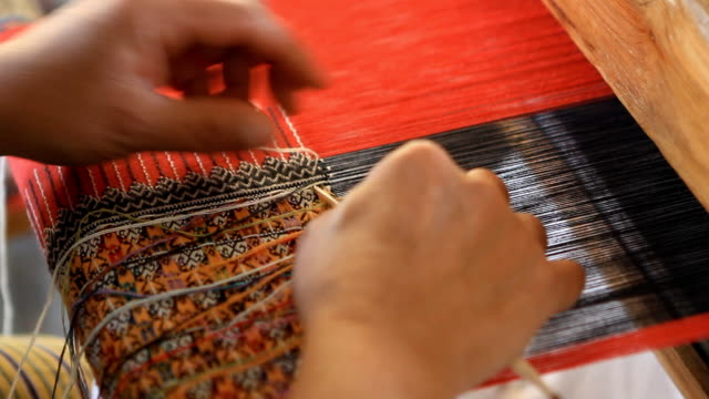 housewife weave cotton cloth in thailand - art stock videos & royalty-free footage