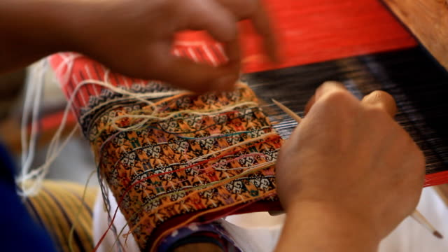 housewife weave cotton cloth in thailand - souvenir stock videos and b-roll footage
