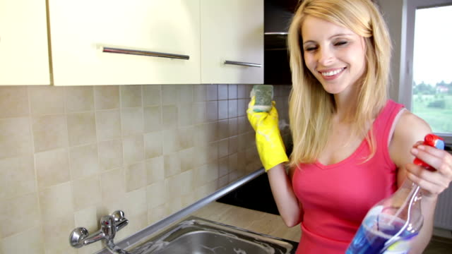 housewife with cleaning products - homemaker stock videos and b-roll footage