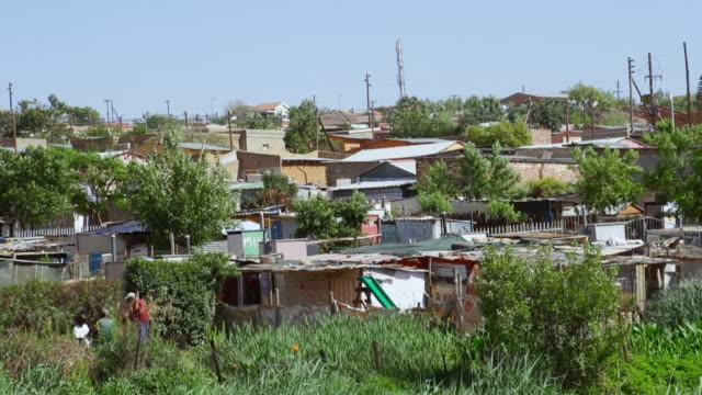 vidéos et rushes de ws housing and shacks amongst green trees in town / diepsloot, south africa - cahute