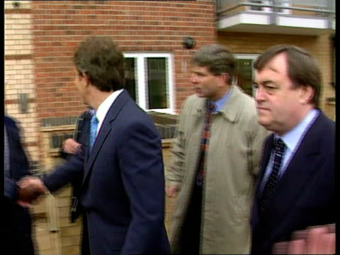 government promises action itn england london hackney ext prime minister tony blair mp and deputy prime minister john prescott mp along visiting... - john w. snow politician stock videos and b-roll footage