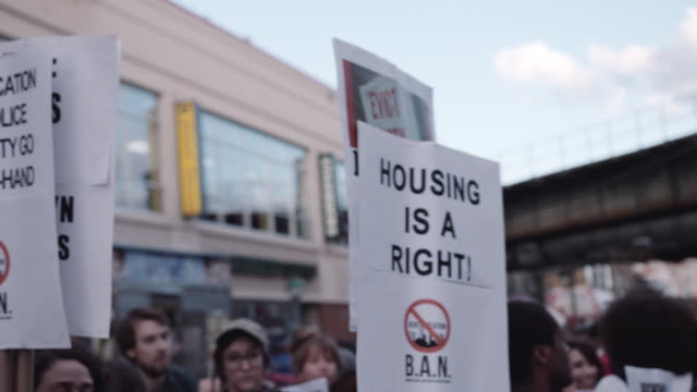 housing protests in brooklyn - housing difficulties stock videos & royalty-free footage