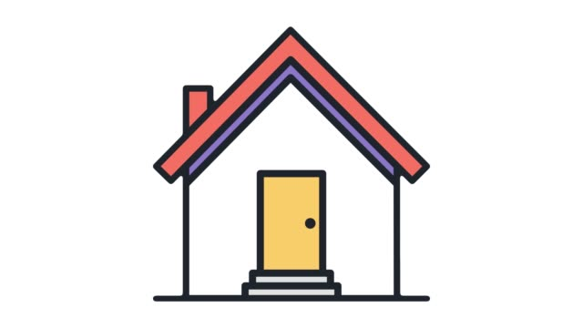 housing & real estate flat line icon animation with alpha - outline stock videos & royalty-free footage