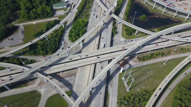 houston highway intersection, aerial - road junction stock videos & royalty-free footage
