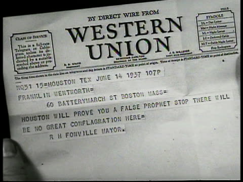 houston mayor richard fonville writing at desk cu telegram to franklin wentworth 'houston will prove you a false prophet' reprisal wentworth smiling... - telegram stock videos and b-roll footage