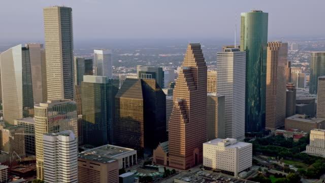 aerial houston skyline district, texas - texas video stock e b–roll