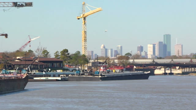 houston skyline from industrial park with trains - barge stock videos & royalty-free footage