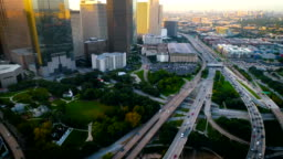 Houston Texas long pan up to the Downtown Sunrise Skyline Cityscape