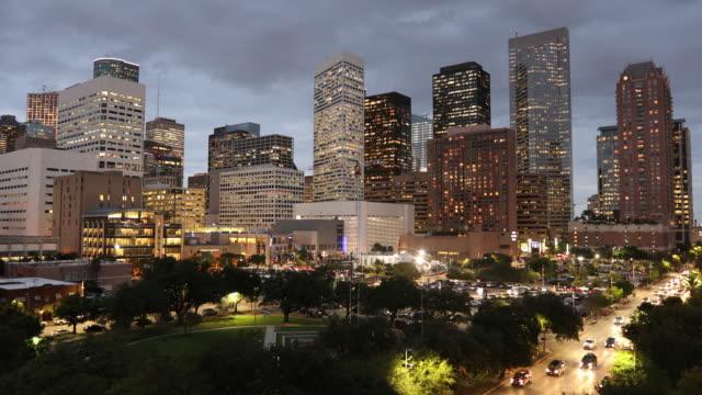 Houston Texas skyline at night