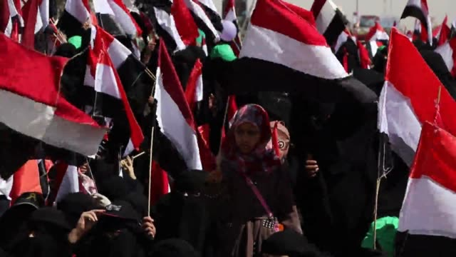 houthi female loyalists rally to mark the fourth anniversary of the war on march 26, 2019 in sana'a, yemen. - anniversary stock videos & royalty-free footage