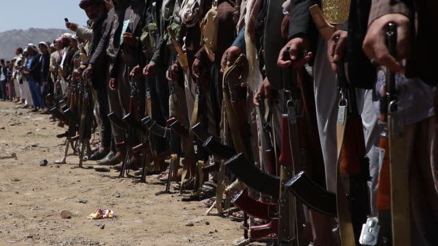 houthi followers attend a tribal gathering on september 21, 2019 in sana'a, yemen. - yemen stock videos & royalty-free footage
