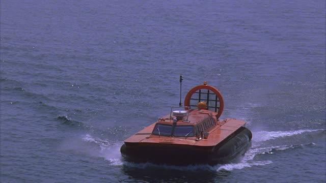 ha ws hovercraft traveling on sea / toronto, canada - hovercraft stock videos & royalty-free footage